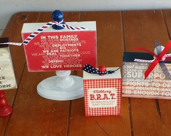 Wood Blocks, set of 4, home decor, sign, family, home, Military decor, dog tags, In this house military, Military home, love, In this family