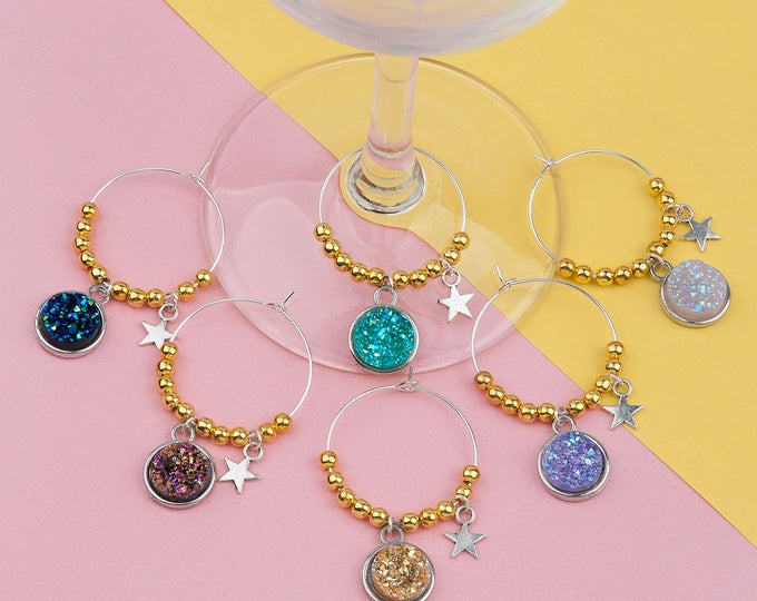 Resin Druzy Wine Charms - 6 pack