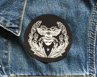 Screen Printed Lavender Bee Sew on Patch