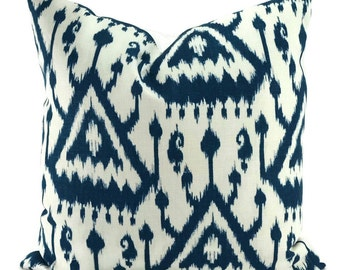 Schumacher Vientiane Ikat Indigo Throw Pillow Cover, 20x20, Moroccan Ikat Pillow