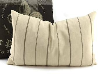 Natural & Brown Ticking Lumbar Throw Pillow Covers, 14x22