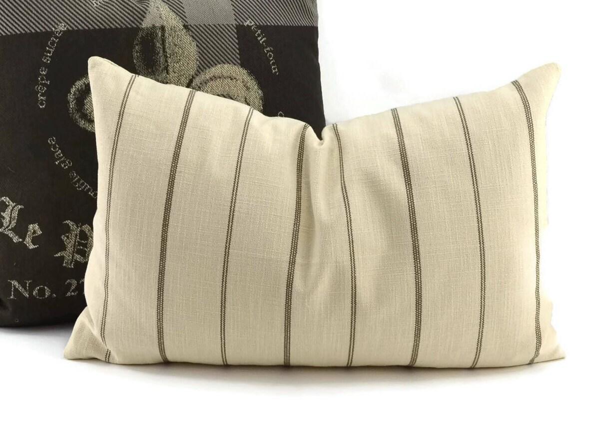 Natural & Brown Ticking Lumbar Throw Pillow Covers 14x22