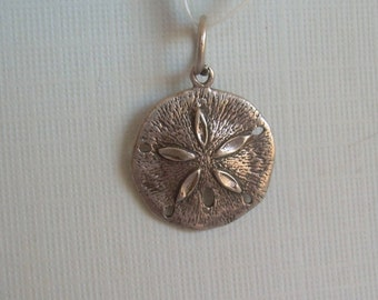 Small Sand Dollar Pendant Charm-Vintage Solid Sterling Silver-9P Hallmark-Classic Nautical Reef Star Sealife Sea Animal Beach Jewelry-00687