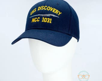 Star Trek Hat - Discovery - USS Discovery - Embroidered Geeky Baseball Cap - Naval Hat Inspired