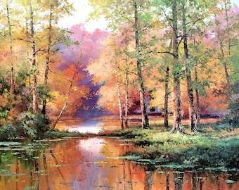 Fall Scene Art Print of Watercolor Painting - Trees, Nature, Lake, Peaceful Gift Watercolors