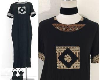 70s DRESS 70s VINTAGE Clothing BLACK Dress Hippie Clothes Hippie Clothing Hippie Dress Hippie Dresses for Women Maxi Dress Boho Dress Black