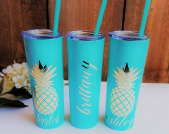 Pineapple Tumbler, Stainless Steel Cup, Monogram Pineapple Cup, Custom Pineapple Gifts, Gift for Her personalized tumbler, metallic tumbler
