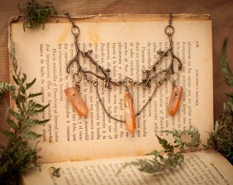Forest Witch Necklace, Raw Crystal Necklace, Quartz Necklace, Boho Jewelry Trends, Golden Quartz Necklace, Fantasy Necklace, Wiccan necklace