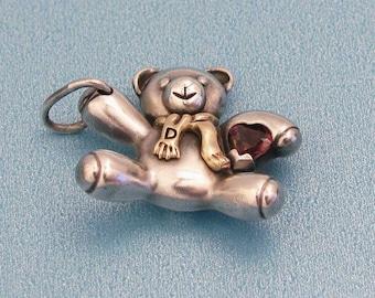 Sterling Silver Keepsake Teddy Bear Pendant, 14KT Gold , Genuine Heart-Shaped Garnet Stone, Vintage