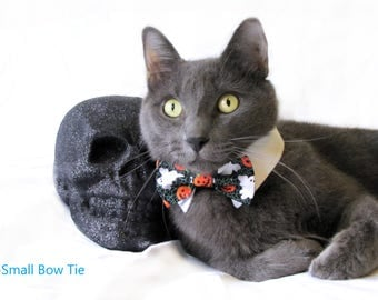 Pumpkin and Ghost Bow Tie, Necktie, or Bow on a Shirt Style Collar for both Dogs & Cats