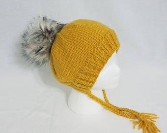 Women's Knitted Split Brim Hat with Faux Fur Pom Pom