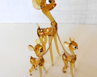 1960s Hand Blown Glass Deer & 2 Fawns Amber Color, Chain Connected / Mother Doe Twin Fawns / Delicate Gold Chains / Deer Family / Art Glass