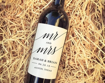 Mr. and Mrs. Wedding Wine Labels // Favor Labels // Personalized Engagement Gift