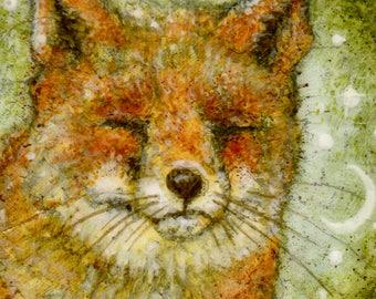 Fox Greetings Card, Red Fox, Snow Fox, Winter Fox, Fox in the Snow, Greetings Card, Christmas Card, Sleeping Fox, Art Card, Fox Print