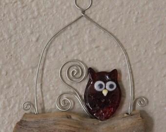 Glass Owl Wall Art, Ruby Owl
