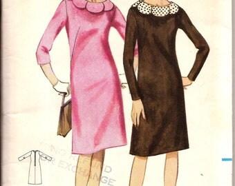 Vintage 1960s  Sheath Dress with Petal Collar Pattern / Butterick 3326 / Size 16 Bust 36