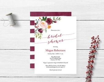 Marsala Fall Floral Watercolor Bridal Shower Invitation | Burgundy | Printable Bridal Shower