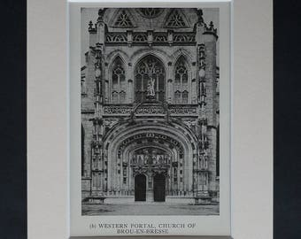 1920s Antique Royal Monastery of Brou Print, Available Framed, French Art, Bourg-en-Bresse Decor, Old Flamboyant Gothic Church Architecture