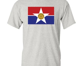 Dallas City Flag T Shirt - Sport Grey