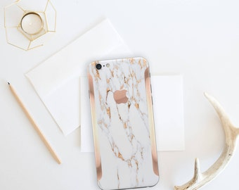 Marble Bianco Sivec and Rose Gold Edge Vinyl Skin Decal for iPhone 6/6s, iPhone 7 , iPhone 8 , iPhone X -  Platinum Edition