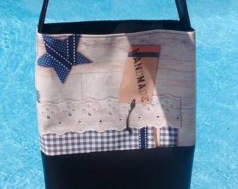 Blue black white shoulder bag