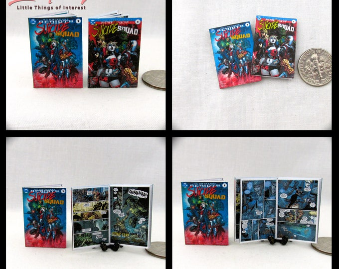 2 Miniature The SUICIDE SQUAD Comic Books Dollhouse Comic 1:12 Scale  2 For 1  DC Suicide Squad #1 and # 8 Justice League vs Suicide Squad
