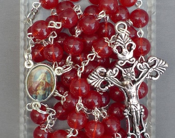 Silver - Our Lady of Mount Carmel - 8mm Red Glass Rosary