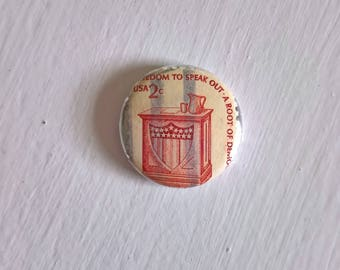 Freedom of Speech Stamp Vintage Postage Pinback Button -- Retro Lapel Brooch American History President USA First Amendment Stocking Stuffer