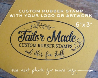 Custom Rubber Stamp, 6 x 3 Stamp, Logo Stamp, Shopping Bag Stamp, Extra Large Stamp, Wood Mounted