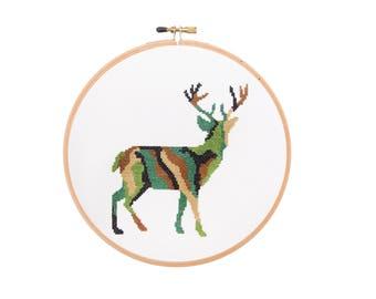 Camo Deer - Modern Cross Stitch PDF - Instant Download