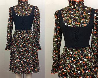 Vintage 60s 70s Black Floral MINI Dress Lace Up Corset S
