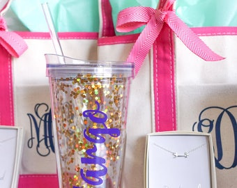 Bachelorette Party Tumblers, Bachelorette Party Gifts for Bride,  Bachelorette Water Bottle, Personalized Glitter Tumblers with Straw, Large