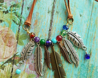 FeAtHer Bib NECKLACE> Feather Necklace/ Native Jewelry/ Beaded Necklace/ Southwestern/ Rustic Gypsy/ Boho Chic/ Sundance/ Country Style