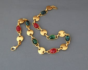 Vintage Gold Red& Green Necklace, Egyptian Etruscan Style Necklace Matte Gold Red and Green Cabochons, Estate Jewelry