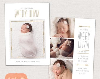 Birth Announcement Template - Baby Announcement Card Photoshop Template for Photographers - CB096 5x7 card - INSTANT DOWNLOAD