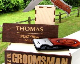 Groomsmen Knives Gift Set , Engraved Custom Pocket Knife, Monogrammed Wedding Favors, Personalized Knife for Groomsman, Knife Gift Set