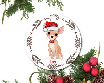 Chihuahua Ornament, Personalized Dog Ornament, Chihuahua Gift, Custom Christmas Ornament, Ceramic Ornament, Pet Ornament