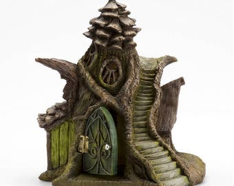 Merlin's Manor Fairy House - Beautiful Green Fairy Garden House w/ Opening Door Miniature Stairs LED Light Pinecone Cottage Magical Mini