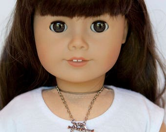 American Girl doll sized anchor necklace - silver and black