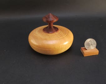 Box Lidded Container Bolivian Yellowheart wood and Chechen (caribbean rosewood) hand turned
