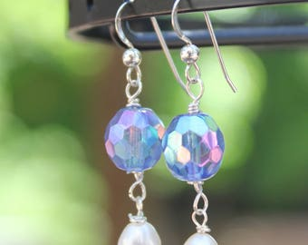 Freshwater Pearl and Vintage Aurora Borealis Crystal Earrings with Sterling Silver