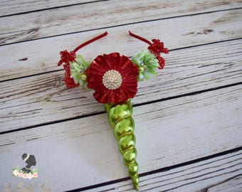 Handcrafted Christmas Unicorn Horn Headband - Alicorn Headband - Adult Unicorn Headband - Christmas Gifts for Girls - Lime Green and Red Bow