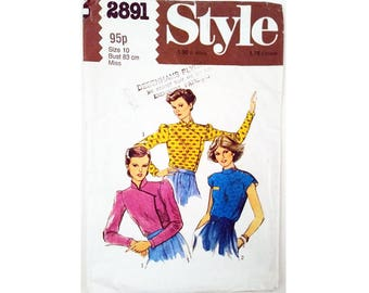 """Vintage 70's Style 2891 Asian Chinese Mandarin Collar Blouse Shirt Top Sewing Pattern in 2 Closing Options Size Bust 32.5"""" UK 10"""