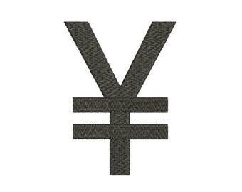 Machine Embroidery Design Instant Download - Japanese Yen Symbol 1