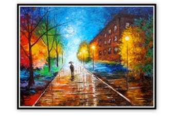 Large Original Oil Painting -Couple With Umbrella -Walk In The Rain - Colorful Painting - Palette Knife - Rainy Landscape - Modern Wall Art