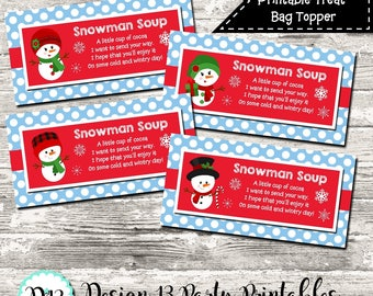 INSTANT DOWNLOAD Snowman Soup Blue Christmas Treat Bag Topper Digital Printable