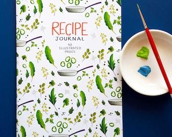 Kitchen journal recipe journal foodie gift lined notebook recipe journal green goodness forumfinder Gallery