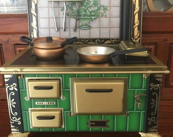 Antique Toy Stove and Oven, Furnace, Pots and Pans, Utensils, German, Schopper CE, 19th Century, All Original, Rare, Mint Condition ~ OBO