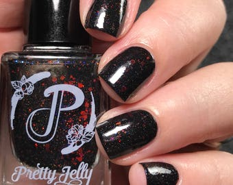 Black Nail Polish, Red Glitter Nail Lacquer, Indie Nail Polish, Fall Nail Color, Gift For Her, Vegan Cosmetics, Pretty Jelly, POP SIX SQUISH