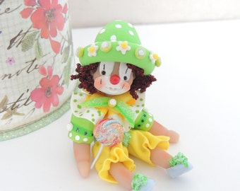 Bring in the Clowns Boy Miniature Whimsical Little Doll With Lollipop